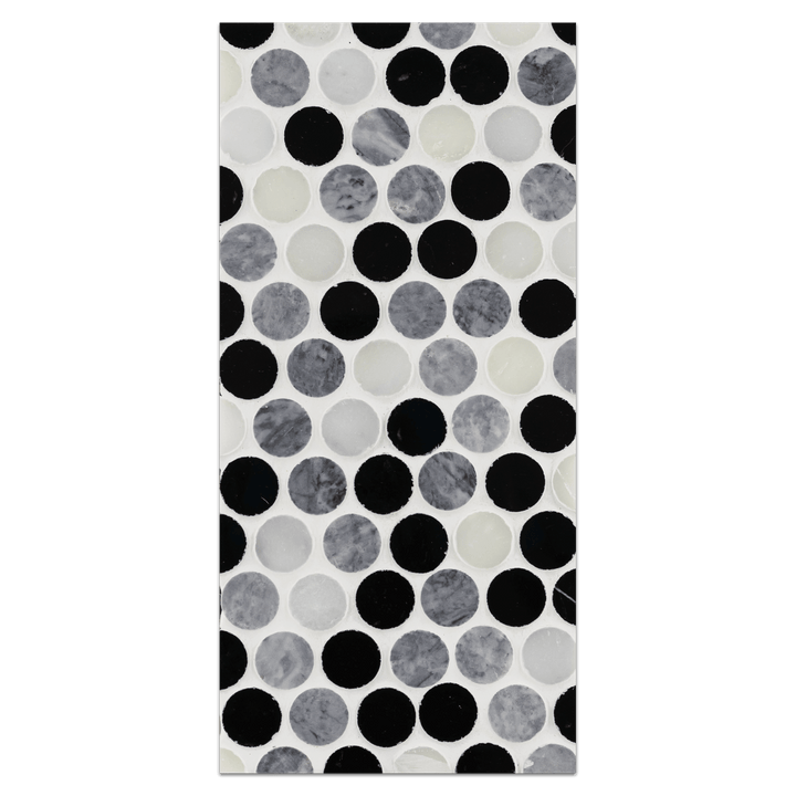 "Mini Board Collection - MB193 - Pearl White with Pacific Gray and Black Tri-Blend 1"" Rounds Mosaic Polished Board - Elon Tile"