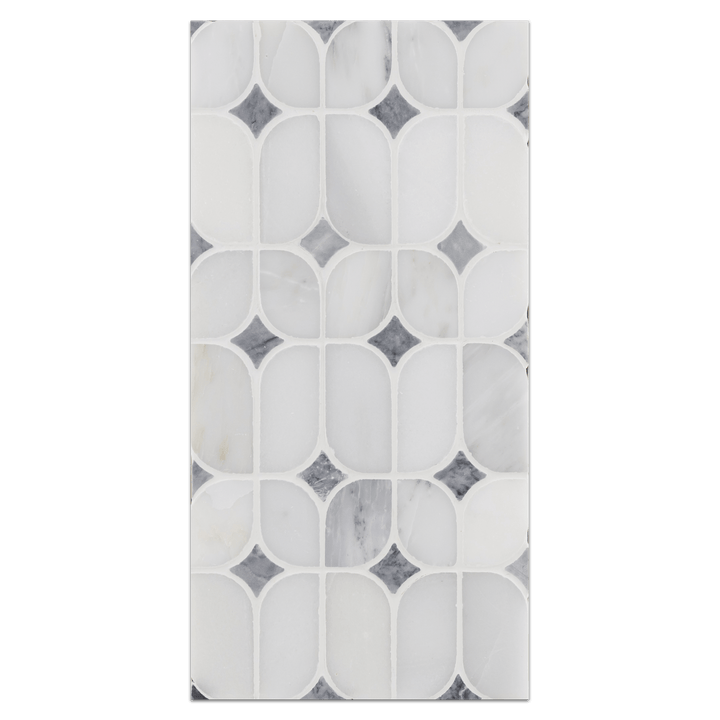 Mini Board Collection - MB208 - Pearl White Starlight withPacific Gray Dot Polished - Elon Tile