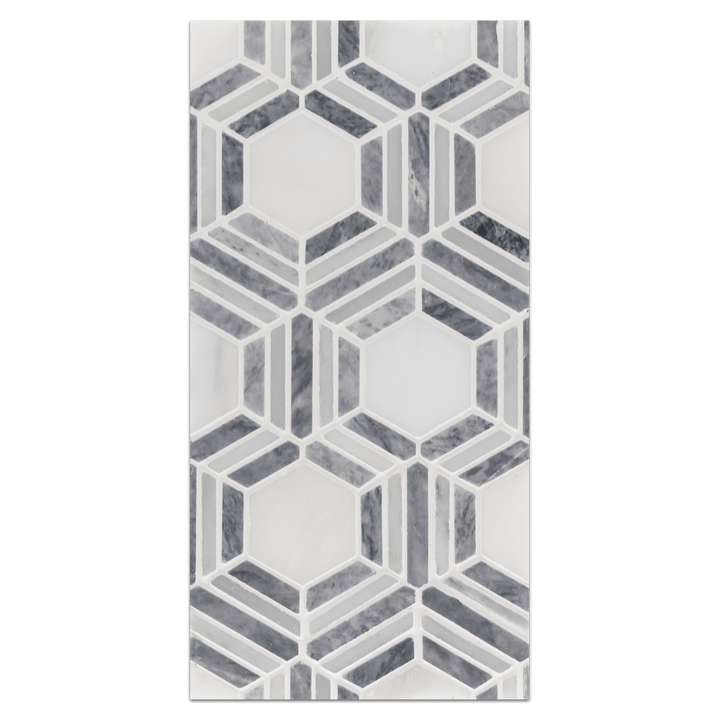 Mini Board Collection - MB212 - Kaleidoscope Pearl White with Pacific Gray Mosaic Honed Board - Elon Tile