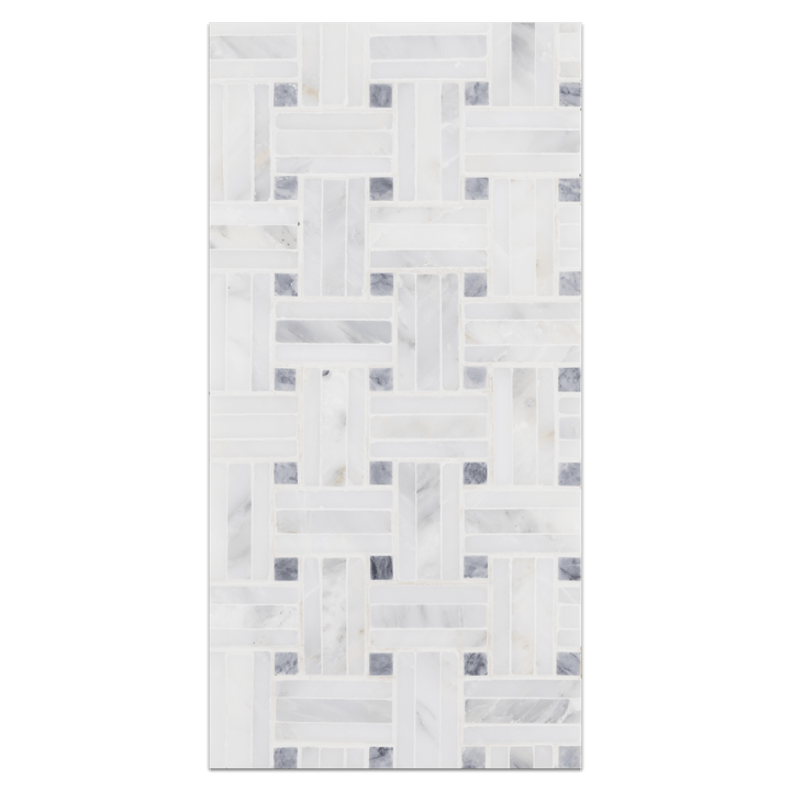 Mini Board Collection - MB213 - Pearl White Triweave with Pacific Gray Dot Mosaic Honed Board - Elon Tile