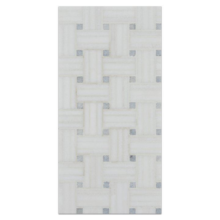 Mini Board Collection - MB215 - White Thassos Triweave with Blue Celeste Dot Honed Board - Elon Tile