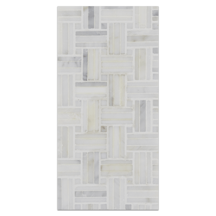 Mini Board Collection - MB216 - Pearl White Tri-Weave with Pearl White Dot Mosaic Honed Board - Elon Tile