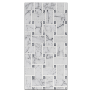 "Mini Board Collection - MB218 - Bianco Carrara Basketweave with 3/8"" Pacific Gray Dot Honed Board - Elon Tile"