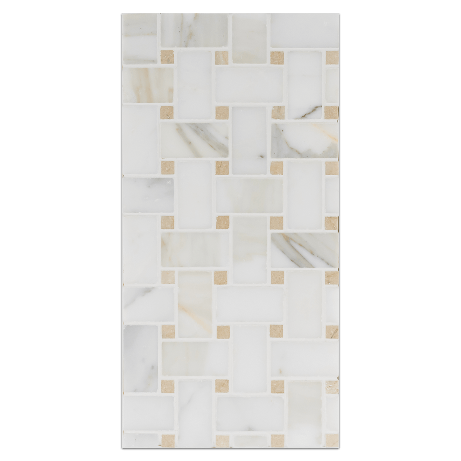 "Mini Board Collection - MB220 - Calacatta Basketweave with 3/8"" Crema Marfil Dot Honed Board - Elon Tile"