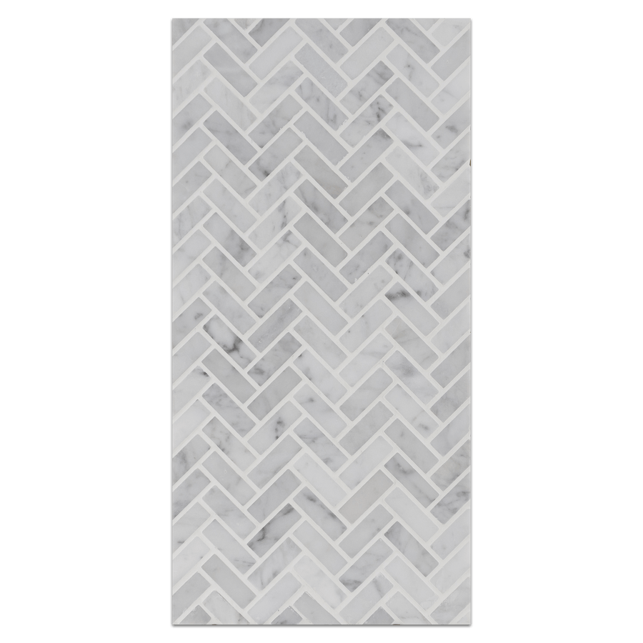 Mini Board Collection - MB222 - Bianco Carrara Micro Herringbone Mosaic Honed Board - Elon Tile
