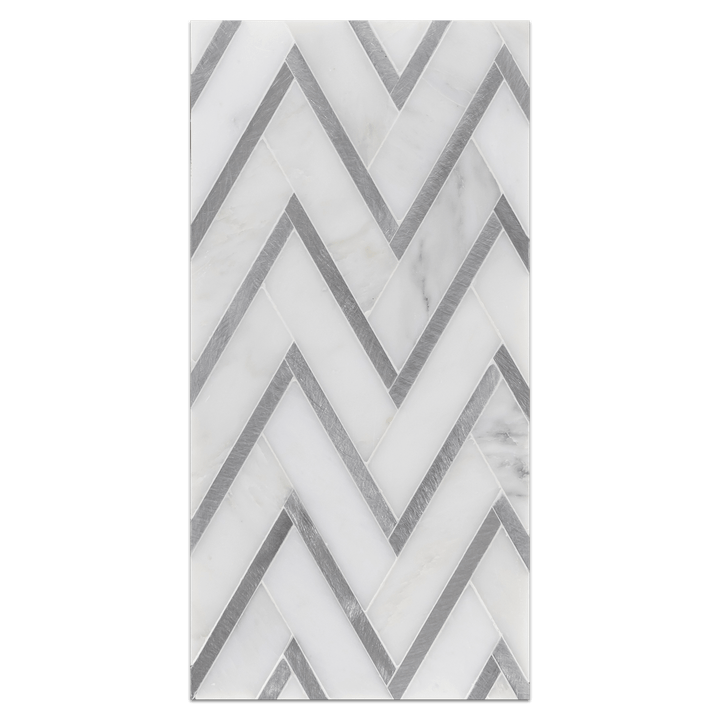Mini Board Collection - MB227 - Pearl White with Silver Aluminum Herringbone Mosaic Polished Board - Elon Tile