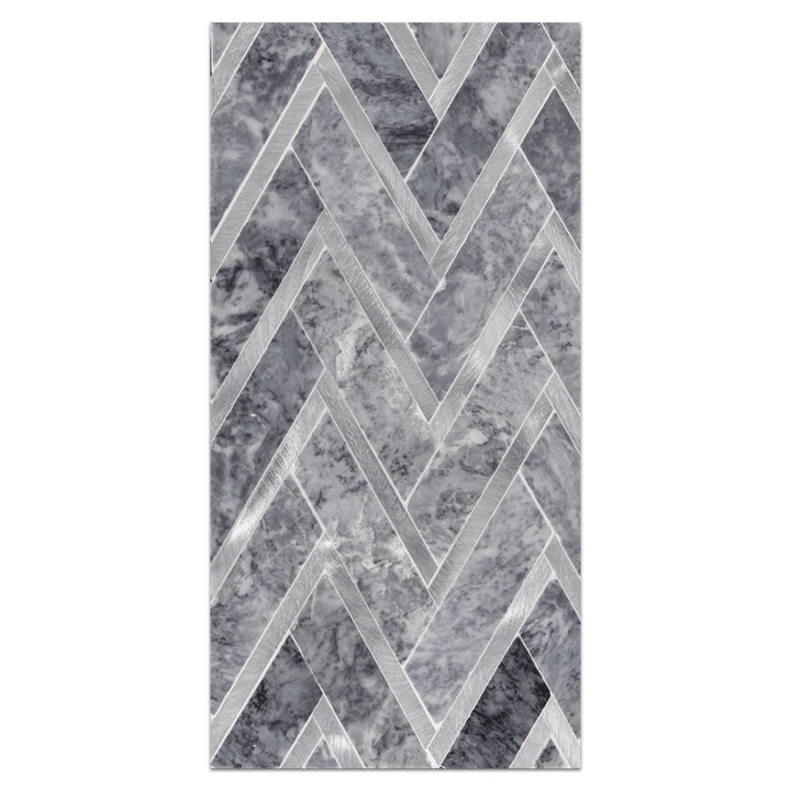 Mini Board Collection - MB228 - Pacific Gray with Silver Aluminum Herringbone Mosaic Polished Board - Elon Tile