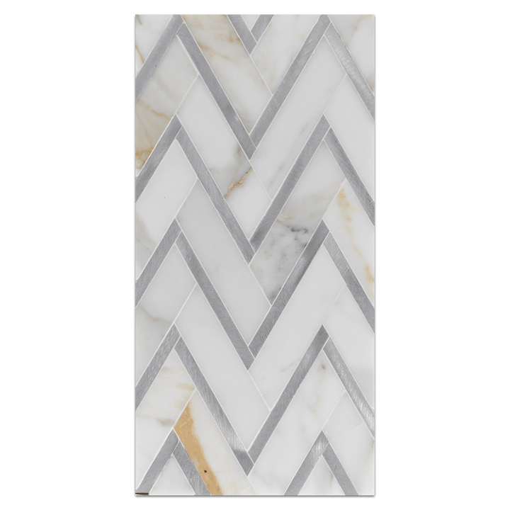 Mini Board Collection - MB229 - Calacatta with Silver Aluminum Herringbone Mosaic Polished Board - Elon Tile