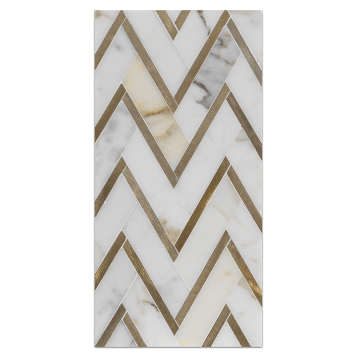 Mini Board Collection - MB230 - Calacatta with Gold Aluminum Herringbone Mosaic Polished Board - Elon Tile