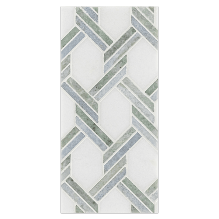 Mini Board Collection - MB231 - White Thassos with Ming Green and Blue Celeste Captiva Mosaic Polished Board - Elon Tile