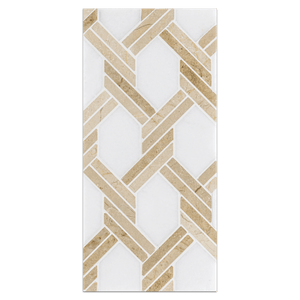 Mini Board Collection - MB232 - White Thassos and Crema Marfil Captiva Mosaic Polished Board - Elon Tile