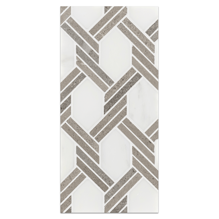 Mini Board Collection - MB234 - Pearl White with Sand Dollar Captiva Mosaic Polished Board - Elon Tile