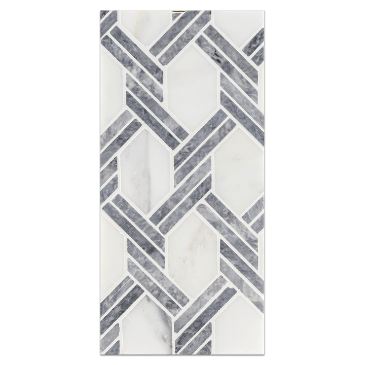 Mini Board Collection - MB235 - Pearl White with Pacific Gray Captiva Mosaic Polished Board - Elon Tile