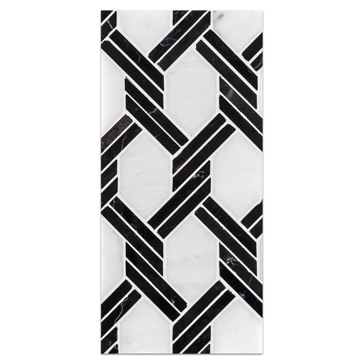 Mini Board Collection - MB236 - Pearl White with Black Captiva Mosaic Polished Board - Elon Tile