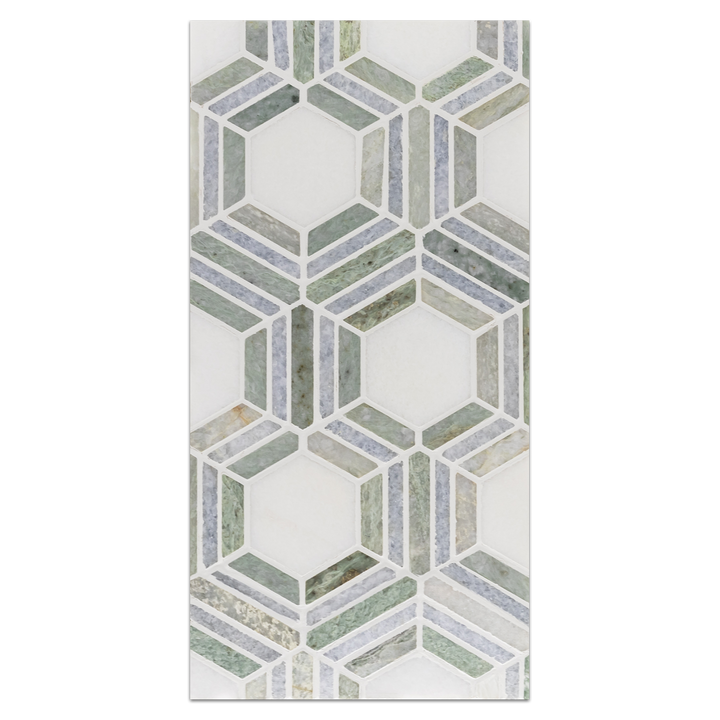 Mini Board Collection - MB237 - White Thassos with Ming Green and Blue Celeste Mosaic Polished Board - Elon Tile
