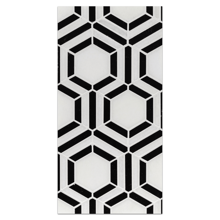 Mini Board Collection - MB238 - White Thassos with Black Kaleidoscope Mosaic Polished Board - Elon Tile