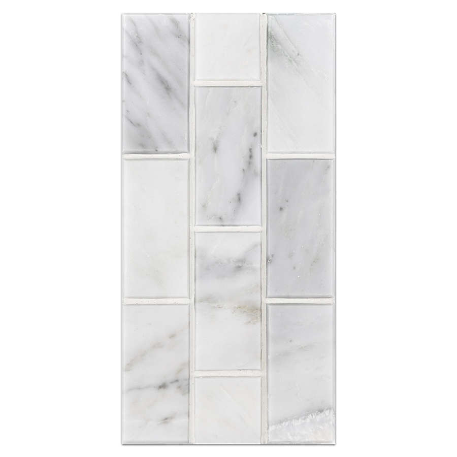 "Mini Board Collection - MB247 - Pearl White 2"" x 4"" Brick Mosaic Polished Board"