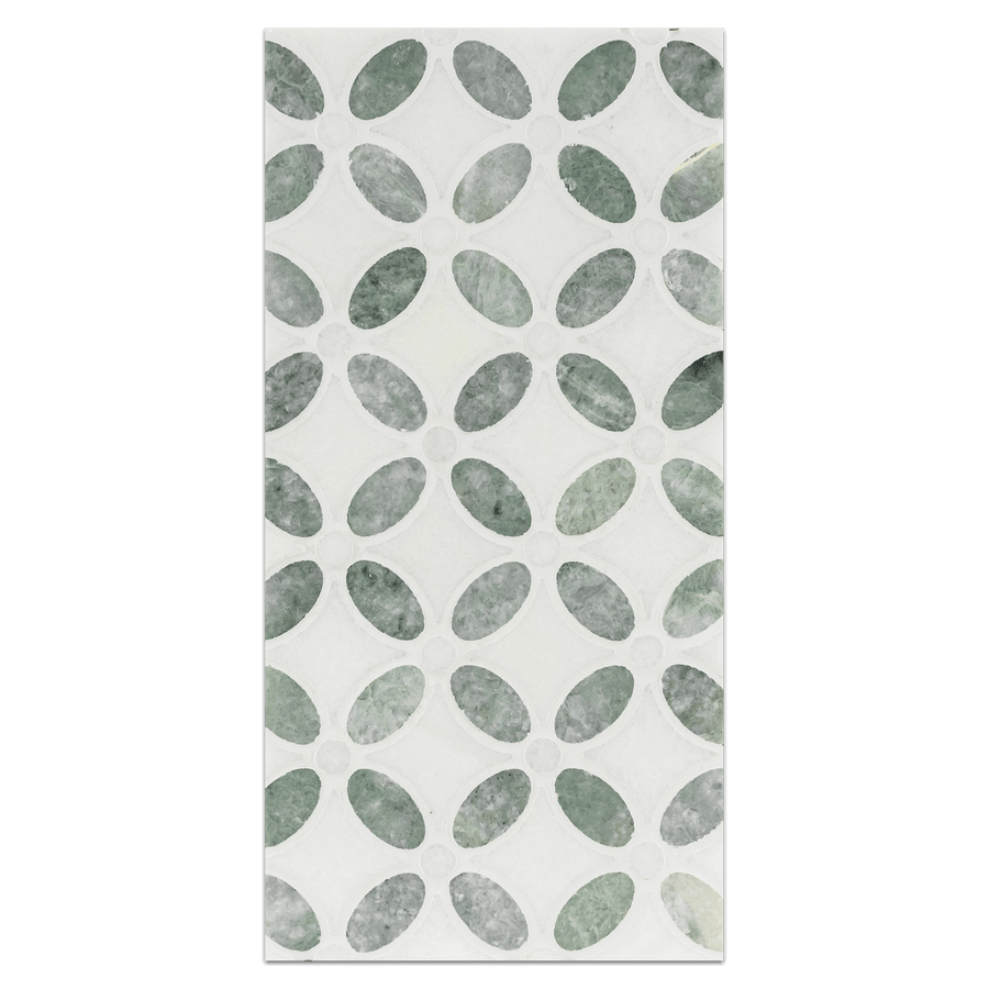 Mini Board Collection - MB253 - Ming Green with Thassos Fleur Mosaic Polished Board - Elon Tile