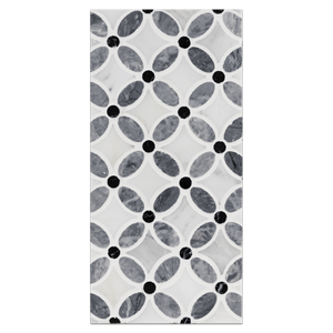 Mini Board Collection - MB254 - Pacific Gray with pearl White and Black Dot Fleur Mosaic Polished Board - Elon Tile
