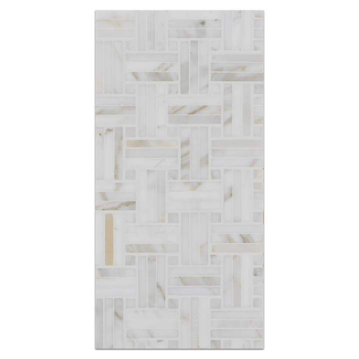 Mini Board Collection - MB257 - Calacatta Tri-Weave with Calacatta Dot Polished - Elon Tile