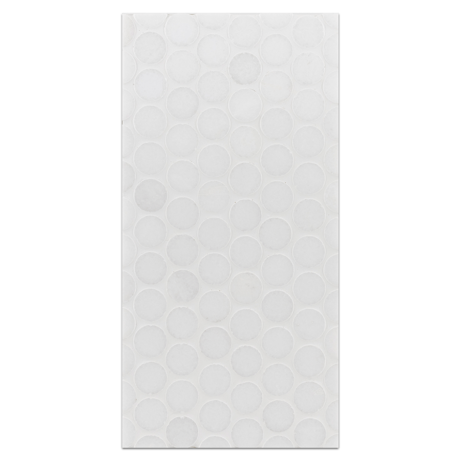 "Mini Board Collection - MB266 - White Thassos 1"" Rounds Mosaic Polished Board - Elon Tile"