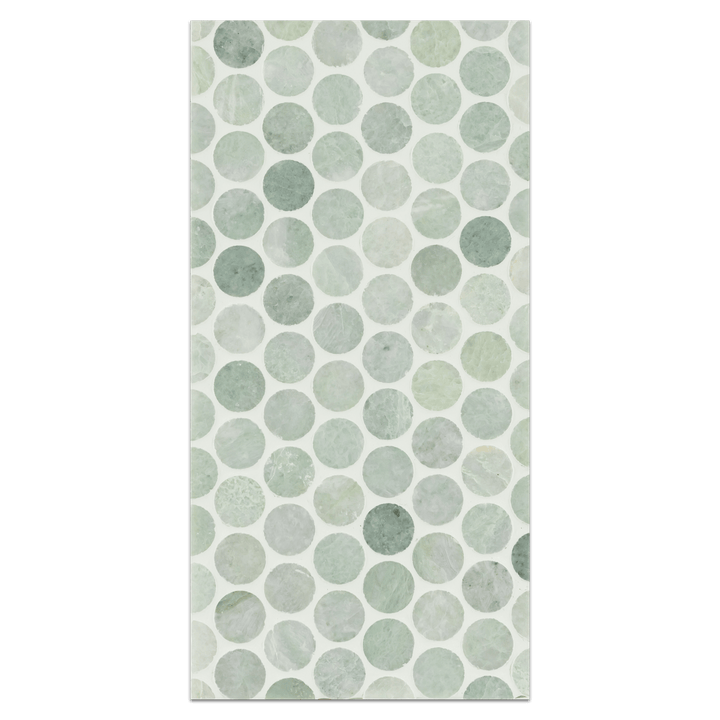 "Mini Board Collection - MB267 - Ming Green 1"" Rounds Mosaic Polished Board - Elon Tile"