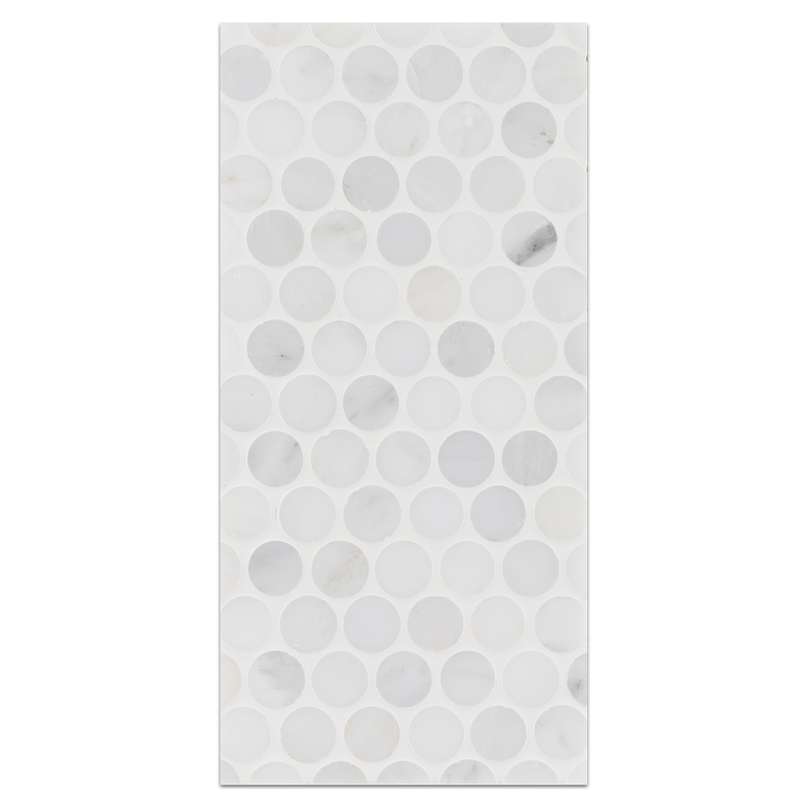 "Mini Board Collection - MB268 - Pearl White 1"" Rounds Mosaic Polished Board - Elon Tile"