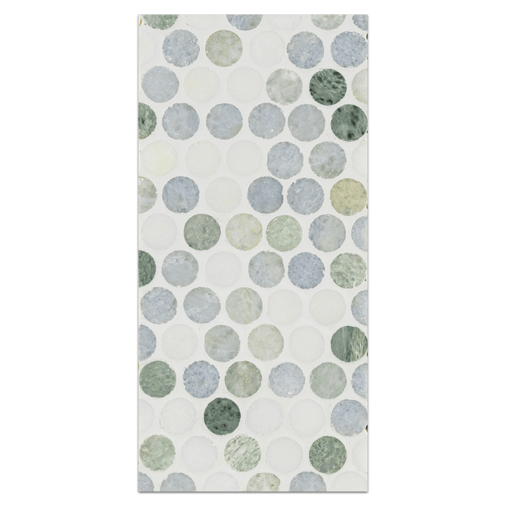 "Mini Board Collection - MB269 - Triblend Blue Celeste with Ming Green and White Thassos 1"" Rounds Mosaic Polished Board - Elon Tile"
