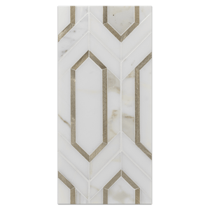 Mini Board Collection - MB280 - Calacatta with Gold Aluminum Picket Mosaic Polished Board - Elon Tile