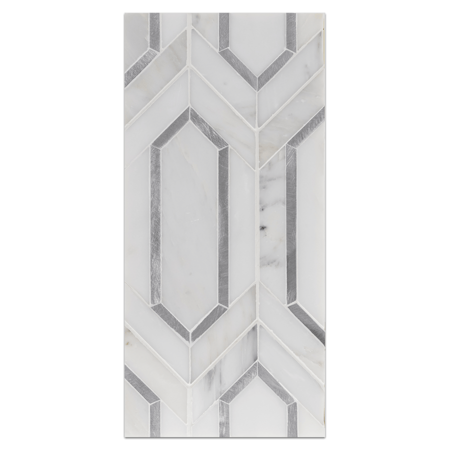 Mini Board Collection - MB281 - Pearl White with Silver Aluminum Picket Mosaic Polished - Elon Tile