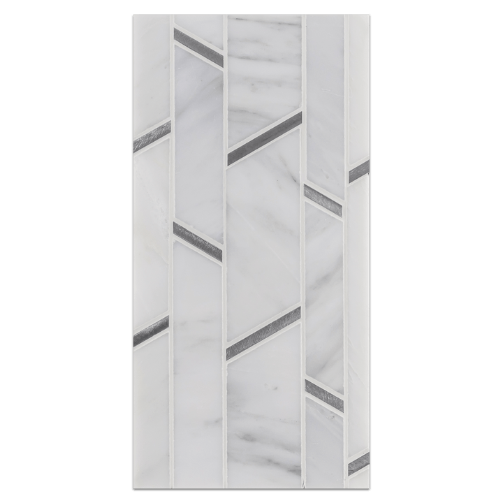 Mini Board Collection - MB282 - Pearl White Random Strip with Silver Aluminum Mosaic Polished Board - Elon Tile