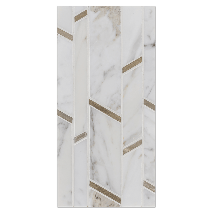 Mini Board Collection - MB283 - Random Strip Calacatta with Gold Aluminum Polished Board - Elon Tile