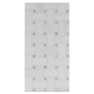 Mini Board Collection - MB290 - Dolomite Basketweave with Mystic Gray Dot Mosaic Honed Board - Elon Tile