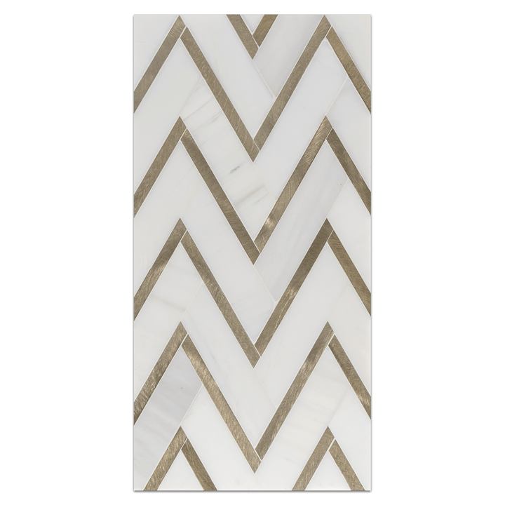 Mini Board Collection - MB292 - Dolomite Herringbone with Gold Aluminum Mosaic Honed Board - Elon Tile