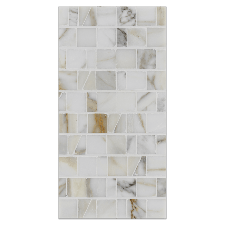 Mini Board Collection - MB329 - Calacatta Random Broken Joint Mosaic Polished - Elon Tile