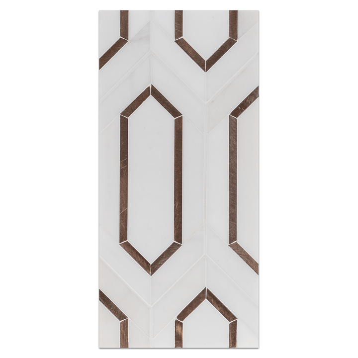 Mini Board Collection - MB341 - Dolomite Picket with Copper Rose Aluminum Mosaic Honed - Elon Tile