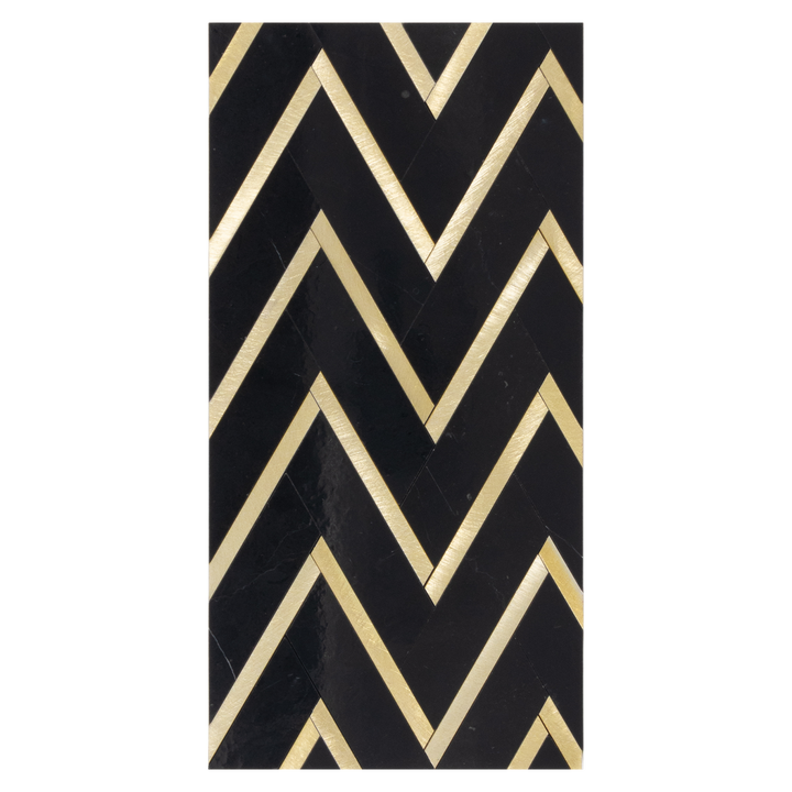 Mini Board Collection - MB364 - Black Herringbone with Gold Aluminum Mosaic Polished Board