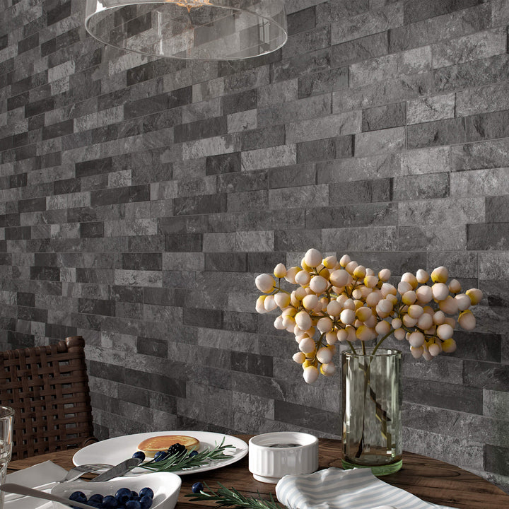 Ordino Black Ledgestone Porcelain - Elon Tile