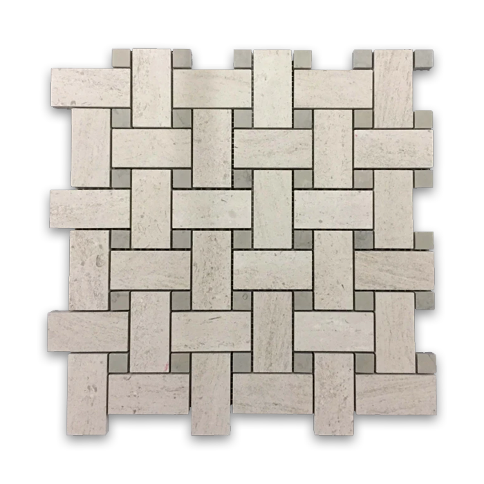 "**LIMITED STOCK** Vague de Fleurs Basketweave with 5/8"" Quartier Parisien Dot Mosaic Honed - Elon Tile"
