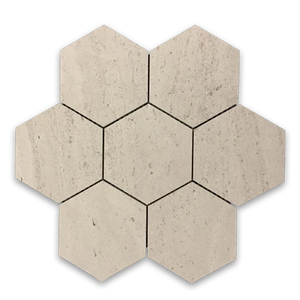 "**LIMITED STOCK** Vague De Fleurs 5"" Hexagon Mosaic Honed - Elon Tile"