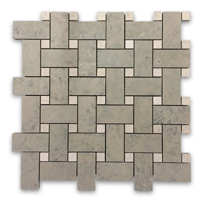 "**LIMITED STOCK** Ville Sur Mer Basketweave with 5/8"" Chateau De Sable Dot Mosaic Honed (1 sf) - Elon Tile"