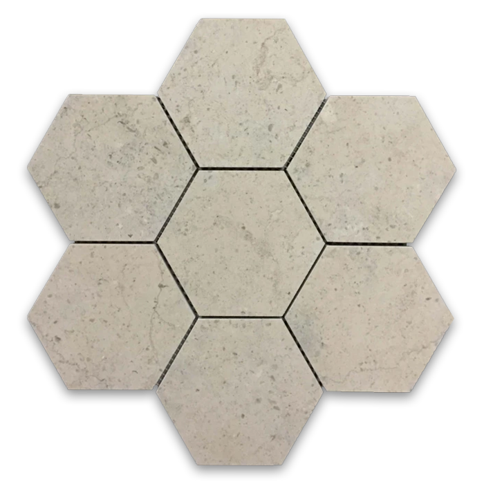 "**LIMITED STOCK** Ville Sur Mer 5"" Hexagon Mosaic Honed - Elon Tile"