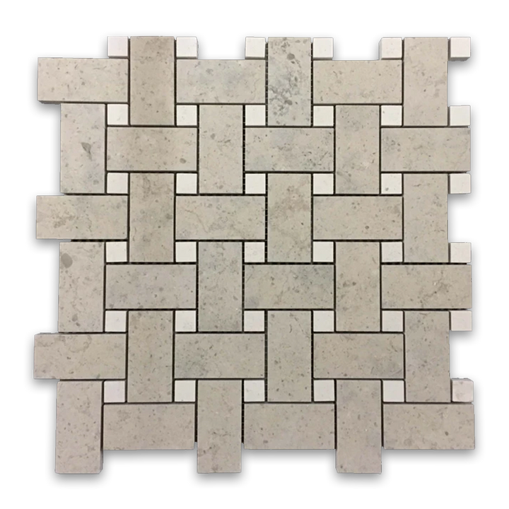 "**LIMITED STOCK** Quartier Parisien Basketweave with 5/8"" Vague de Fleurs Dot Mosaic (1 sf) - Elon Tile"