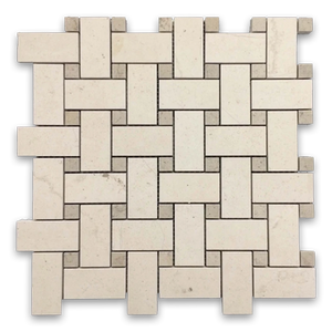 "**LIMITED STOCK** Chateau De Sable Basketweave with 5/8"" Ville Sur Mer Dot Mosaic Honed - Elon Tile"