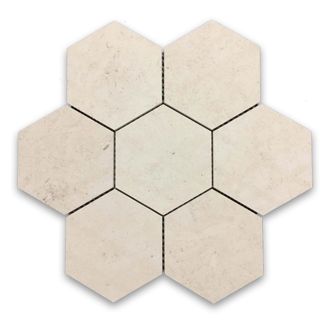 "**LIMITED STOCK** Chateau De Sable 5"" Hexagon Mosaic Honed (1 sf) - Elon Tile"