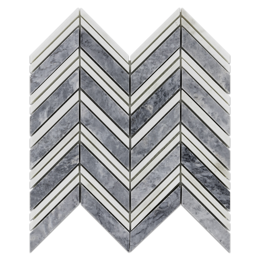 Pacific Gray Chevron with White Thassos Strips Mosaic Polished (0.87 sf) - Elon Tile