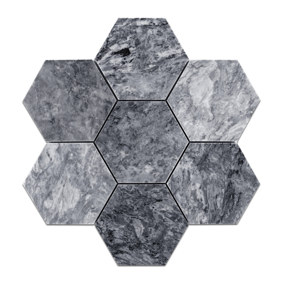 "Pacific Gray 5"" Hexagon Mosaic Honed (0.99 sf) - Elon Tile"