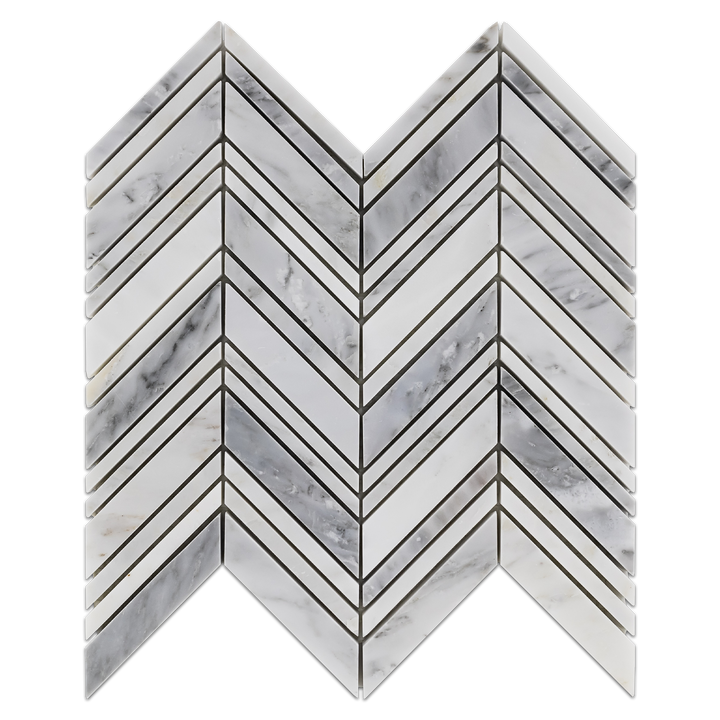 Pearl White Chevron Mosaic Polished (0.87 sf) - Elon Tile