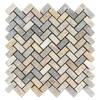 "Golden Sand Quartzite 3/4"" x 1 5/8"" Herringbone Tumbled Mosaic"