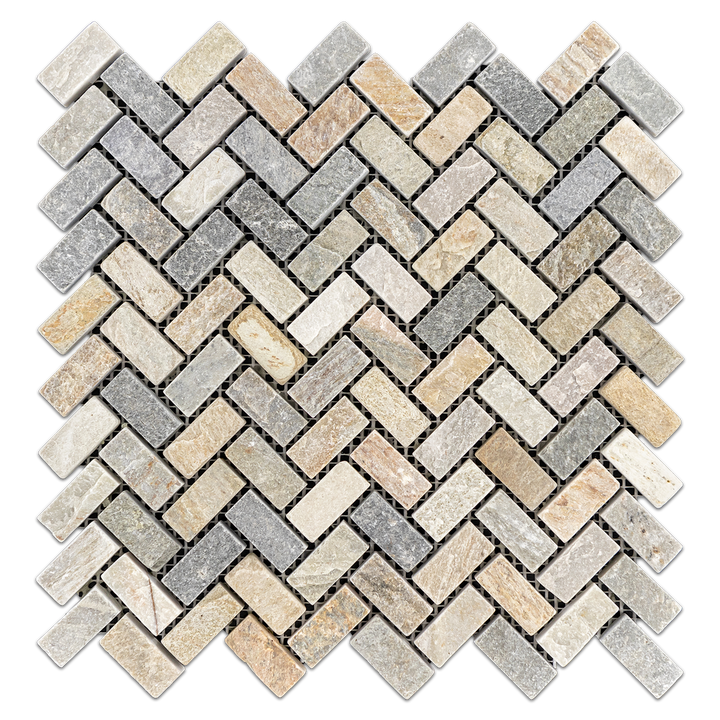 "Golden Sand Quartzite 3/4"" x 1 5/8"" Herringbone Tumbled Mosaic - Elon Tile"